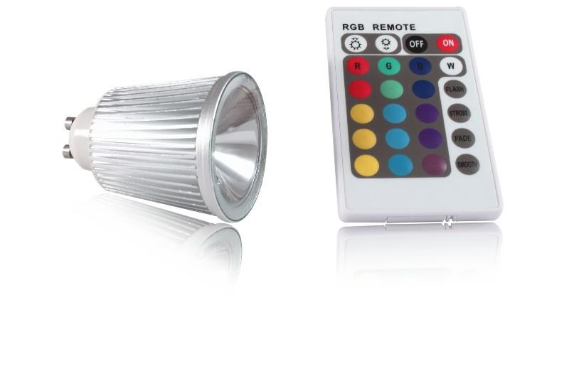 LED bodovka 5W, GU10, RGB s dálkovým ovládáním