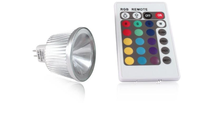 LED bodovka 5W, MR16, RGB s dálkovým ovládáním